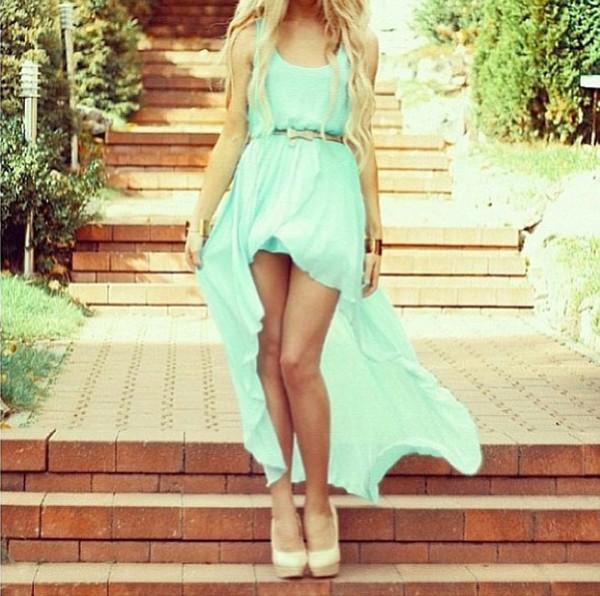 dress blue dress high-low dresses summer