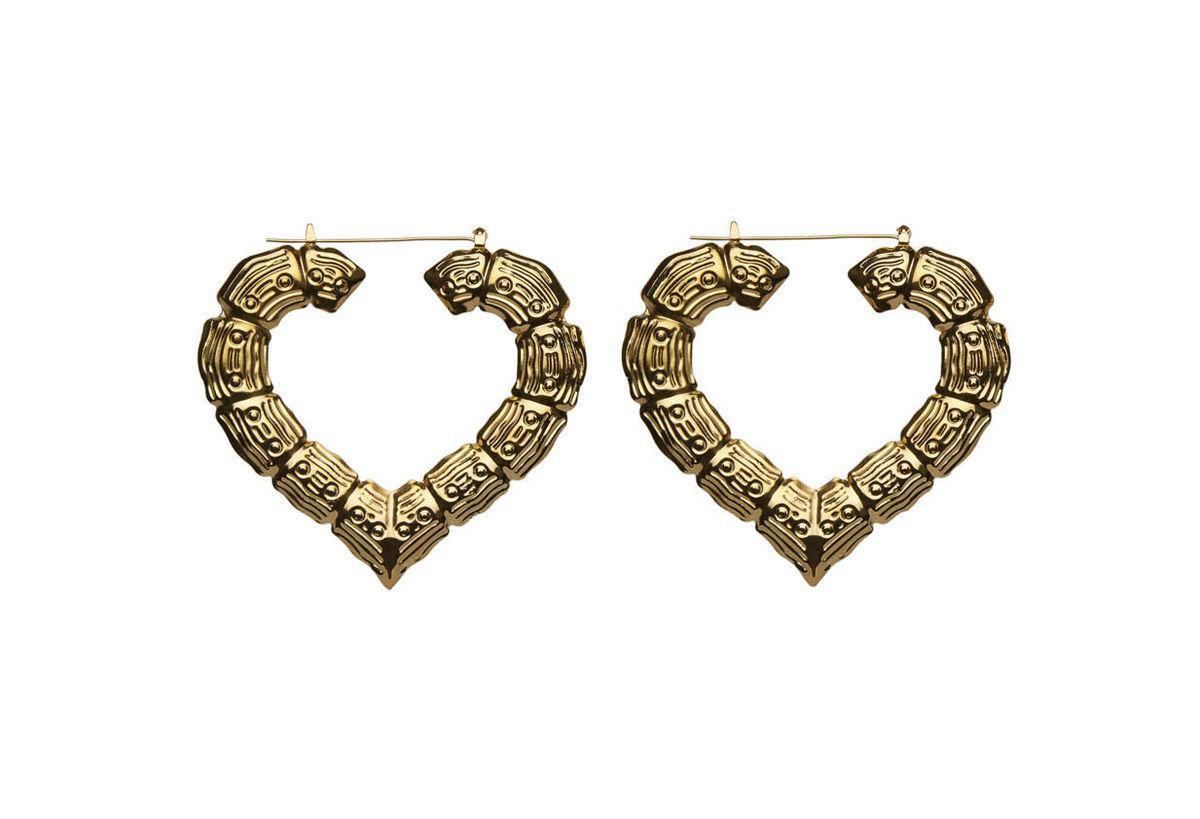 Gold Heart Hoop Earrings (AS SEEN IN SHOUT) - ✰ ☮ ✝ Dollface London Online Jewellery Boutique ✝ ☮ ✰