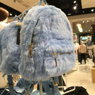 bag blue fur backpack