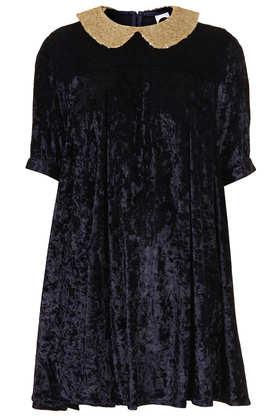 **Velvet Spangle Collar Dress by The WhitePepper - Dresses  - Clothing  - Topshop