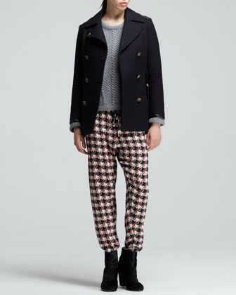 Rag & Bone Battle Leather-Trim Pea Coat, Cara Mixed-Cable Pullover & Easier Printed Dropped Pants - Neiman Marcus