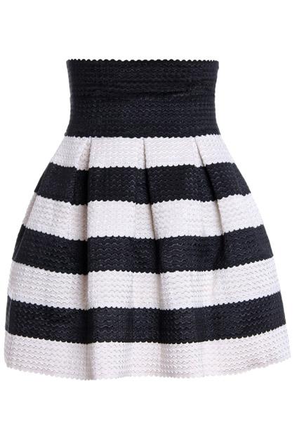 ROMWE | ROMWE Stripeed Puff Black Skirt, The Latest Street Fashion