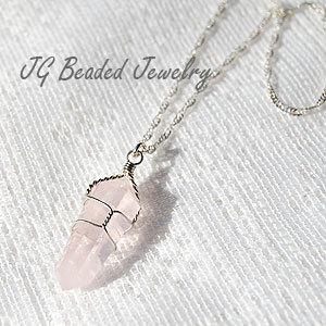 Rose Quartz Crystal Necklace van JGBeadedJewelry op Etsy