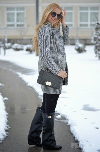 High Street Leather Wedge Knee Boots [HXM1981] - PersunMall.com