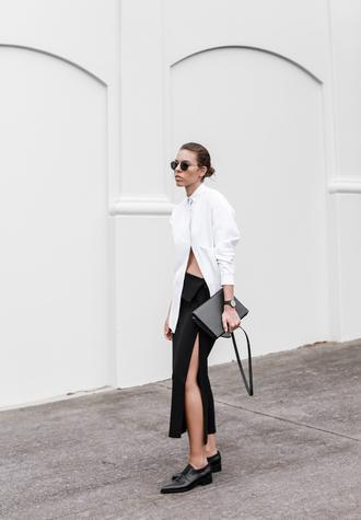 modern legacy blogger sunglasses white shirt slit skirt black skirt oxfords shirt skirt shoes bag jewels