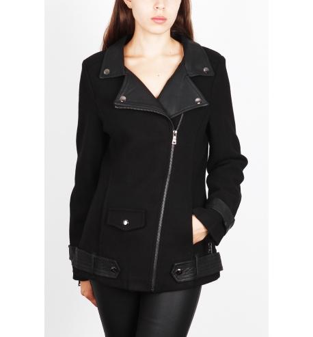 Manteau laine femme avec pièces similicuir noir