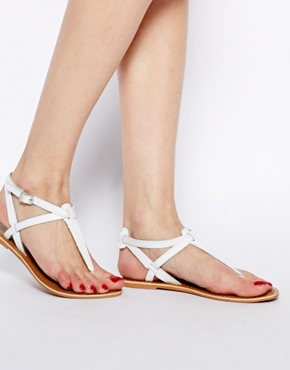 New Look | New Look White Gracie Leather Toe Post Flat Sandals at ASOS
