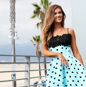dress sherri hill sadie robertson brunette tan blue and black black and blue lace crochet black dots spots polka dots spotted dotted