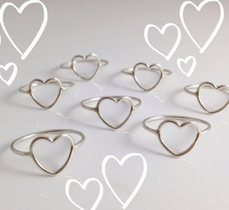 jewels jewelry heart ring silver ring