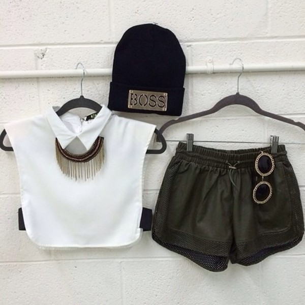 shorts t-shirt hat jewels sunglasses edgy blouse shirt beanie boss black