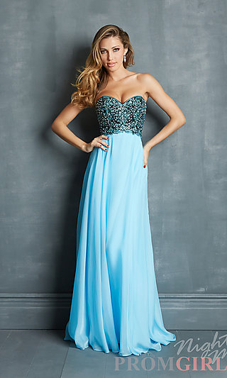 Prom Dresses, Celebrity Dresses, Sexy Evening Gowns - PromGirl: Strapless Night Moves Prom Dress