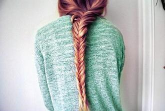 sweater blue braid fishtail braid