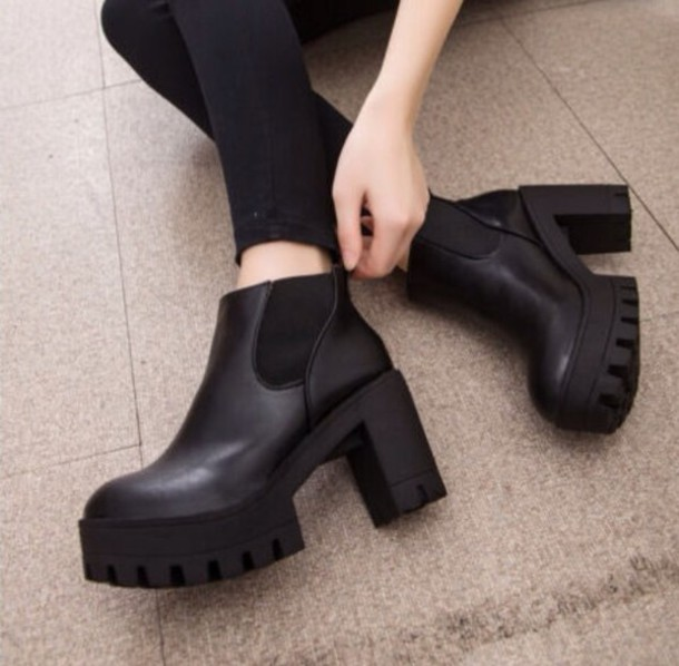 shoes boots ankle boots heels trendy platform shoes winter boots
