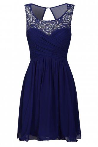 Little Mistress Cobalt Embellished Neckline Prom Dress