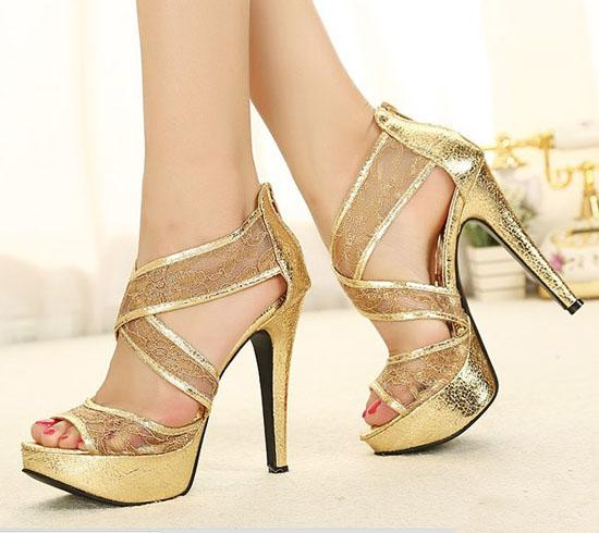 Glitter Lace Stripe Gorgeous Wedding Bridal Shoes Platform Sandals High Heels | eBay