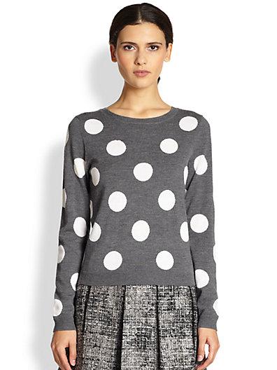 Alice   Olivia - Celyn Wool Polka Dot Sweater - Saks.com