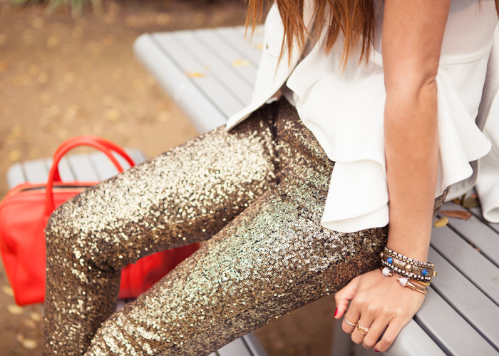 Sequined Gold Silver Leggings Pants   Pariscoming