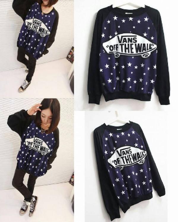 sweater vans black blue stars skateboard white