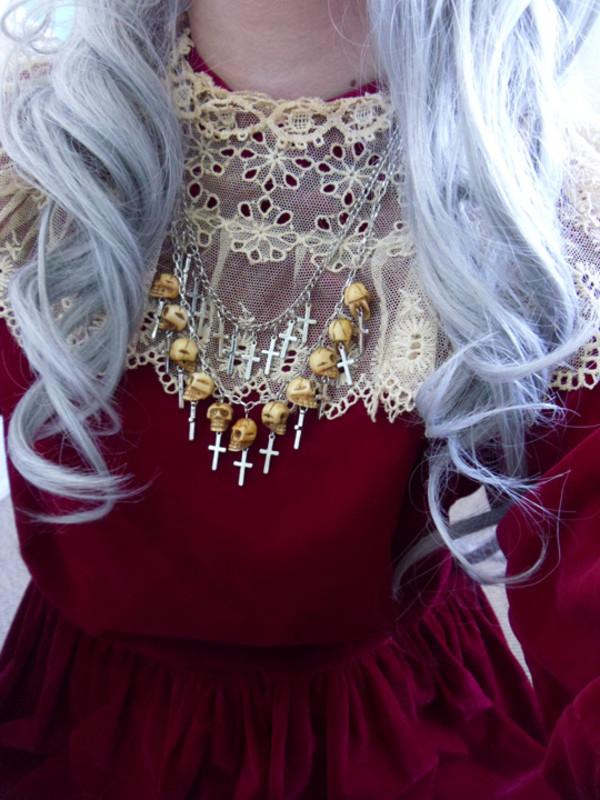 maxi dress red dress necklace cross dress jewels