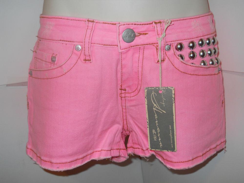 Vintage Havana Pink Stretch Denim Shorts with Studs Sz 1 | eBay