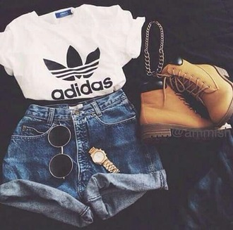 sunglasses black sunglasses shorts top adidas t-shirt shoes shirt adidas shirt white crop tops diesel diesel boots high waisted shorts adidas originals timberland casual style black round  glasses gold watch gold high waisted levi shorts black and white boots white