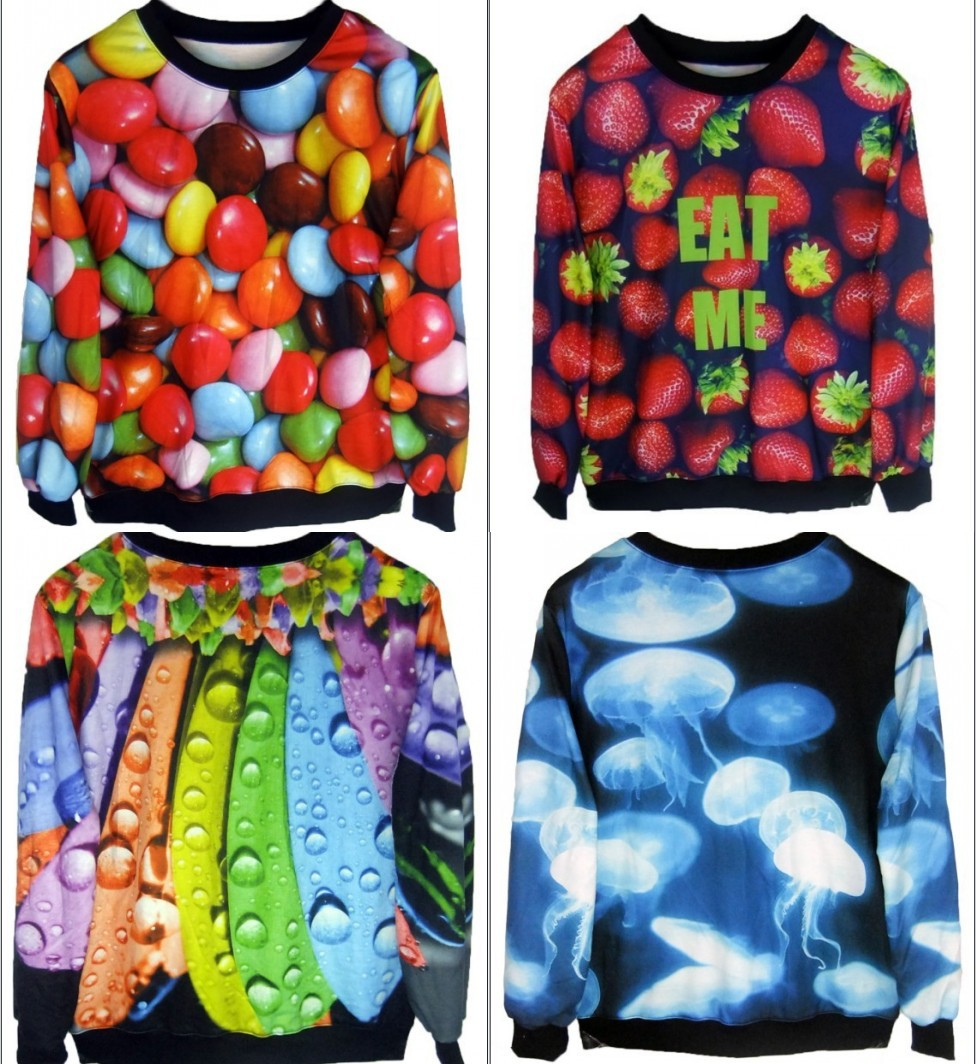 2013 New Fashion Women/Men candy/Strawberries/octopus print Pullover animal 3D t shirts Sweatshirts Hoodies Galaxy sweaters Tops-in Hoodies & Sweatshirts from Apparel & Accessories on Aliexpress.com