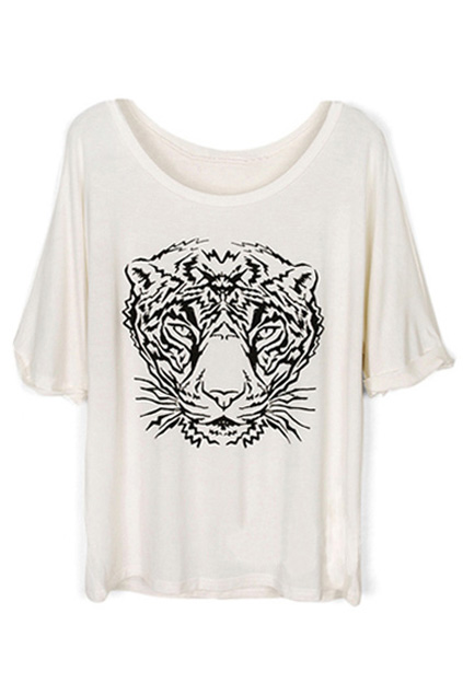 Tête de tigre imprimé manches moitié T-shirt blanc | louisvogue