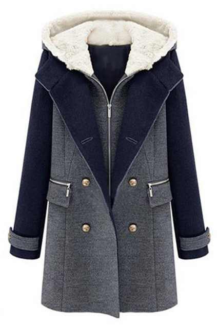ROMWE | ROMWE Zippered Double-breasted Hooded Slim Coat, The Latest Street Fashion
