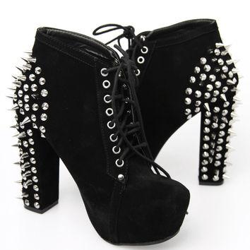Vintage Shoes Studded Back Platforms - Black on Wanelo
