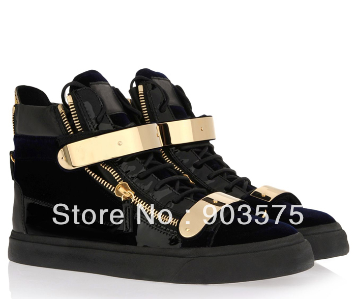 Free shipping 2013 GZ giuseppe brand new shoes leather zipper high top women men leisure black gold metal sneakers-in Sneakers from Shoes on Aliexpress.com