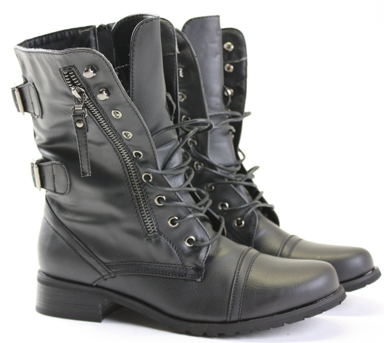 Womens Combat Style Army Worker Military Ankle Boots Flat Punk Goth Shoes Size | eBay