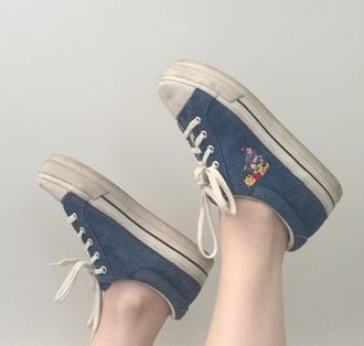 shoes sneakers denim vans tumblr vintage cute grunge girly petite winnie the pooh