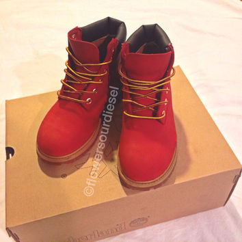 Red Timberland Boots (Womens Sizes) on Wanelo