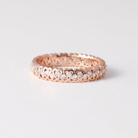 Heart Eternity Band Ring Rose Gold Kellinsilver