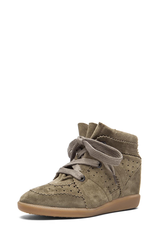 Isabel Marant|Bobby Calfskin Velvet Leather Sneakers in Taupe