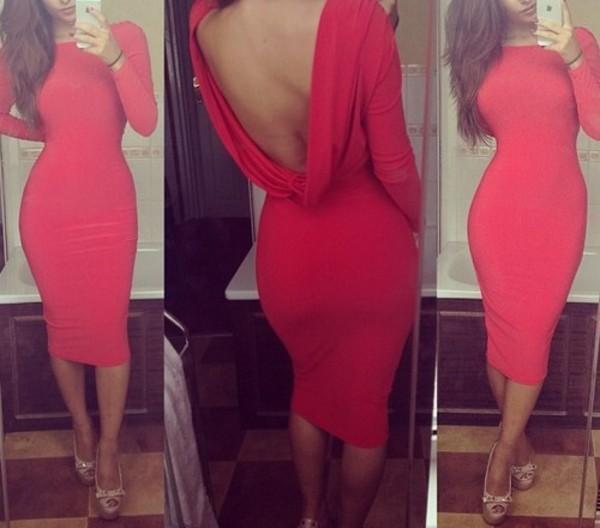 dress red dress fashion cowl back backless dress backless sexy hot