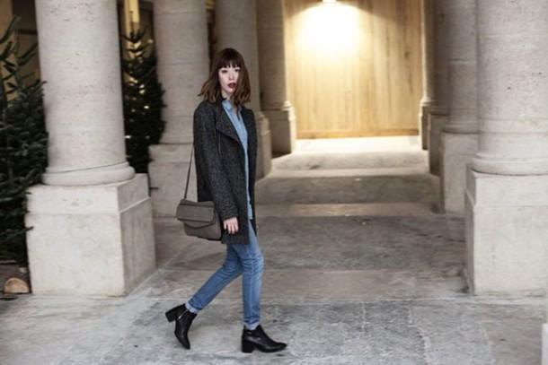 into your closet blogger coat jewels shirt jeans bag shoes