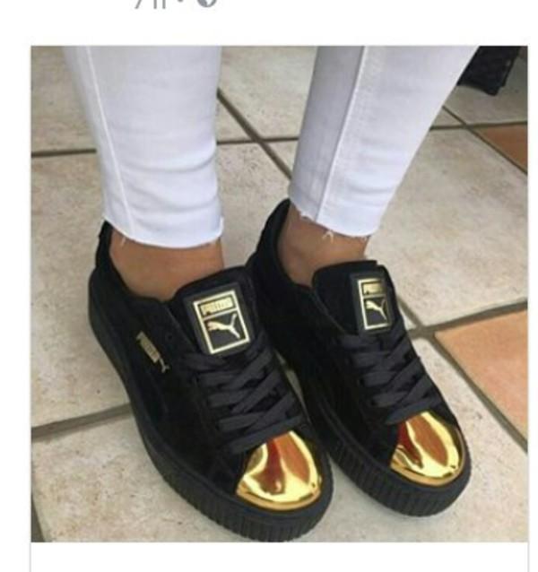 black puma gold toe