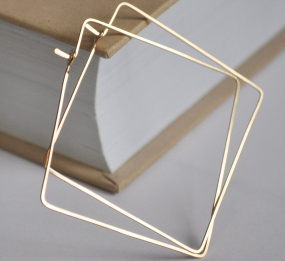 Square Hoop Earrings  Geometric Gold Filled by NadinArtDesign