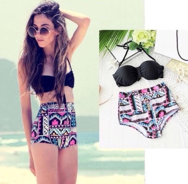 swimwear colorful black bikini pink blue lovely girly summer summer beach swimwear swimwear two piece