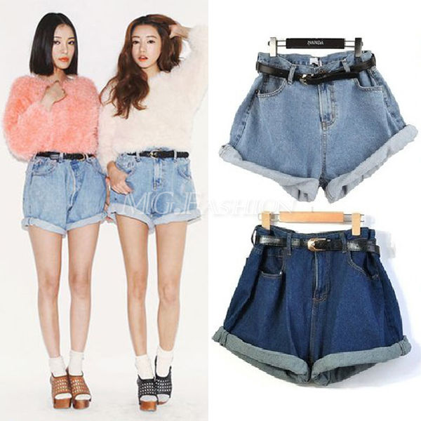 Cool Women High Waisted Oversize Crimping Washed Denim Jeans Shorts Girl Pants | eBay