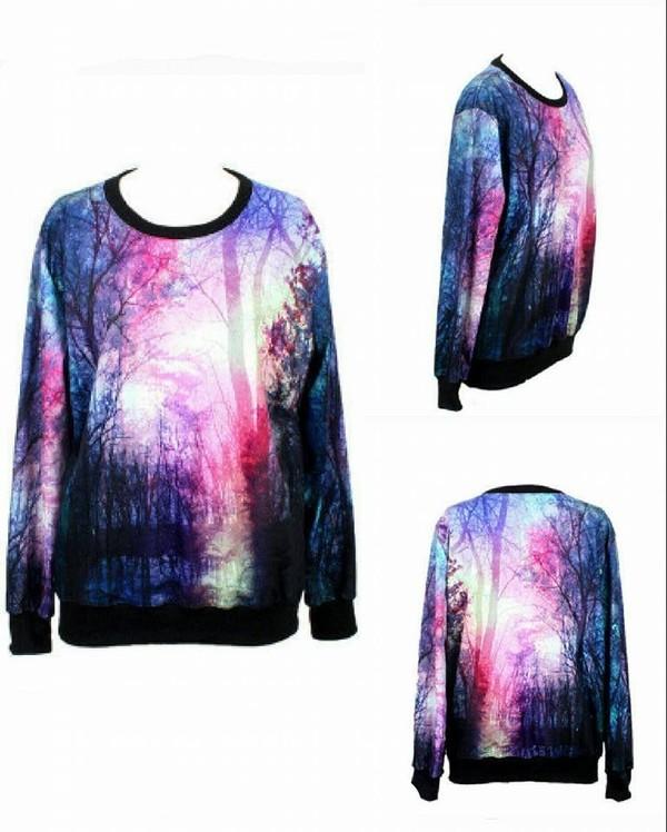 sweater maglione foresta forest galaxy print black violet