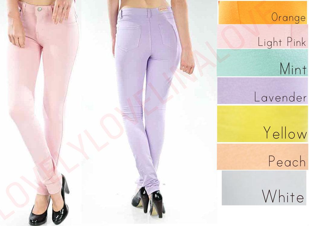 Pastel Colors Comfy Soft Moleton Stretch Knit Skinny Jean Legging Jegging Pant | eBay