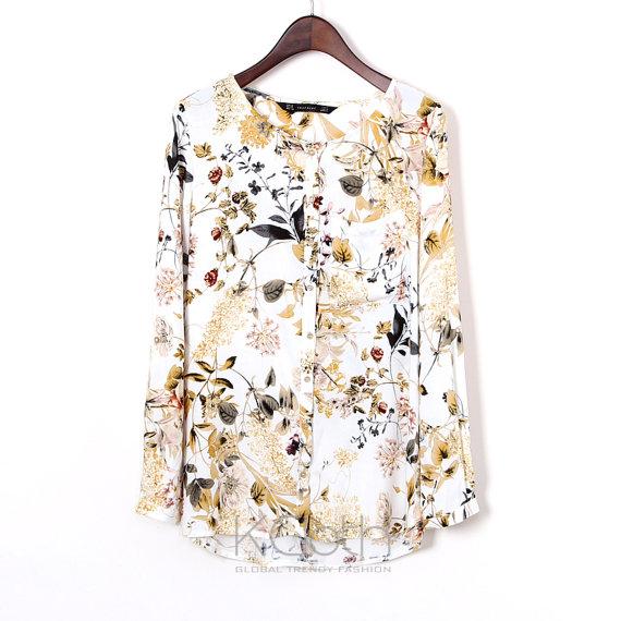 Blouse Floral Print Pocket T1378 Chiffon Blouse Chiffon Top Casual Women Summer Formal Sheer Lace B on Luulla