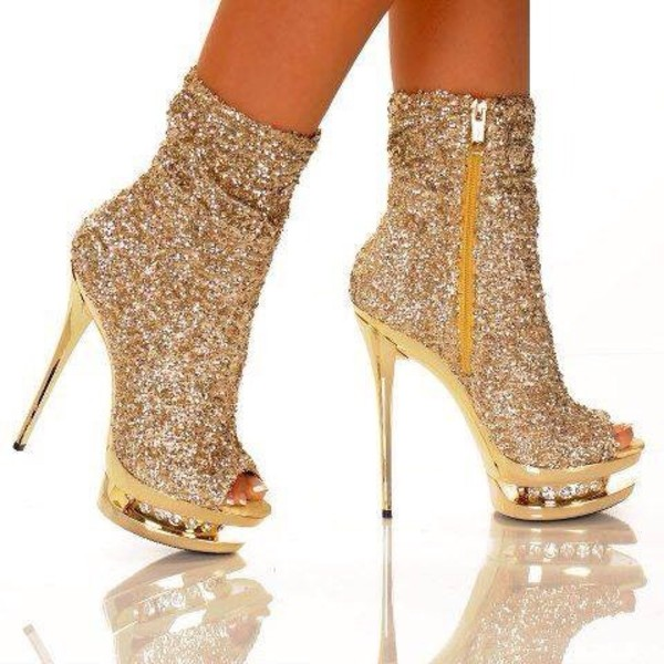 shoes high heels sexy gold sequins gold sparkle high heels boots peep toe boots glitter gold boots gold shoes