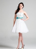 Buy Exquisite Rhinestones White Ball Gown Sweetheart Neckline Mini Homecoming Dress under 200-SinoAnt.com