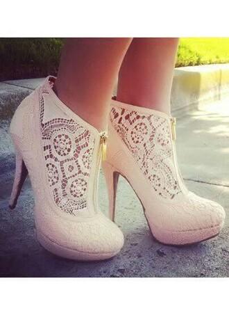 shoes lace high heels heels cream lace shoes light beige zip-up
