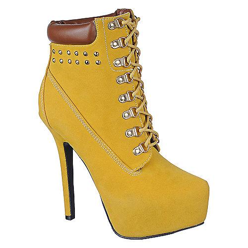 Buy Wild Rose Womens Bryna-20 Mustard Platform Ankle Boot High Heel