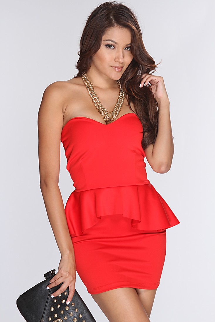 Red Strapless Peplum Dress @ Amiclubwear sexy dresses,sexy dress,prom dress,summer dress,spring dress,prom gowns,teens dresses,sexy party wear,women's cocktail dresses,ball dresses,sun dresses,trendy dresses,sweater dresses,teen clothing,evening cocktail