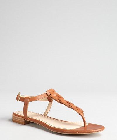 Rachel Zoe gold crinkle  leather 'Gwen' t-strap flat sandals   BLUEFLY up to 70% off designer brands